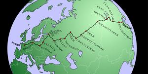 Peking to Paris - Map of the route of the 1907 Peking to Paris race.