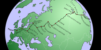 Peking to Paris - Map of the route of the 1907 Peking to Paris race.