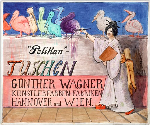 1909 anonymer Künstler, Plakatentwurf Pelikan-Tuschen Günther Wagner Künstlerfarben-Fabriken Hannover und Wien, Japanerin