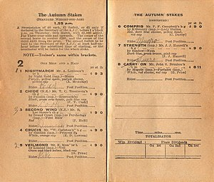 Nightmarch - 1932 AJC Autumn Stakes racebook showing the winner, Nightmarch.