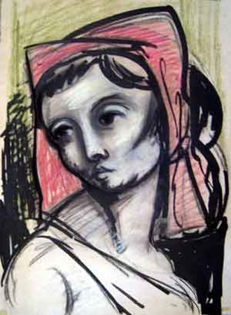 Peter Benjamin Graham - Head Of A Woman by Peter Graham 1949, Ink and pastel on paper 52 × 38.5 cm