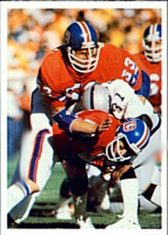 1977–78 NFL playoffs - The Broncos' famed Orange Crush Defense stopping a Raiders offensive play in the AFC Championship Game.
