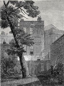 """The back of no 19 York Street (1848). In 1651, Milton moved into a """"pretty garden-house"""" in Petty France, Westminster. He lived there until the Restoration. Later it became No. 19 York Street, belonged to Jeremy Bentham, was occupied successively by James Mill and William Hazlitt, and finally was demolished in 1877.[35] (Source: Wikimedia)"""