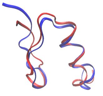 Protein design - Image: 1FSVblue 1ZAAred