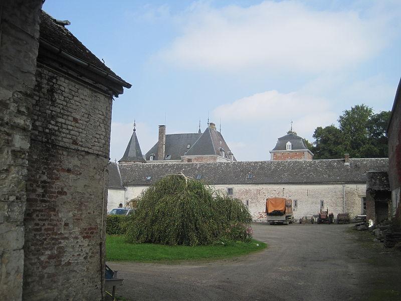 Vue du toit du château depuis la cour de la ferme