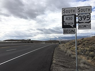 Nevada State Route 430 - View from the north end of SR 430 looking southbound