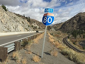 Interstate 80 in Nevada - View east along I-80 just after entering Nevada from California. The First Transcontinental Railroad is visible on the lower right