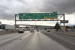 Interstate 515 - View north at the north end of I-515