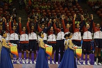 USA Women's World University Games Team - Team accepting gold medal at the 2015  World University Games in South Korea