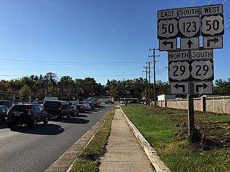 Virginia State Route 123 - View south along SR 123 at US 29 and US 50 in Fairfax