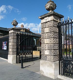 Michael Searles - Searle's surviving gate piers from The Paragon, New Kent Road (subsequently removed for road widening) were re-erected at the Royal Arsenal, Woolwich in 1985.