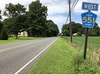 County Route 551 (New Jersey) - View south (signed as west) along CR 551 just southwest of CR 641 in Carneys Point Township