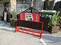 2018-08-29 (224) Advertising of Almdudler on a bicycle rack at valley station of Raxseilbahn at Rax, Austria.jpg