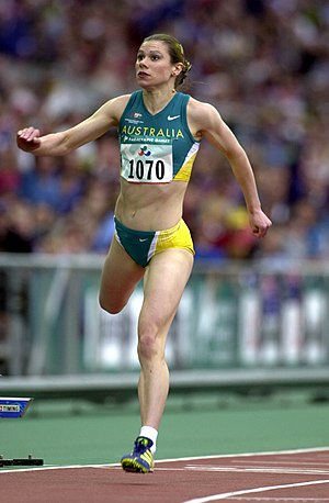 Athletics at the 2000 Summer Paralympics - Action shot of Australian track athlete Lisa Llorens during her silver medal winning run in the 100 m T20 at the 2000 Summer Paralympics