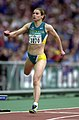 231000 - Athletics track 100m T20 final Lisa Llorens silver action - 3b - 2000 Sydney race photo.jpg
