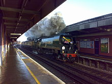 Green steam train, facing camera, making smoke, pictured between two station platforms