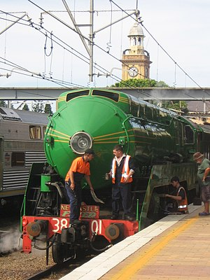 NSW Rail Museum - 3801 at Newcastle preparing to head south with a Newcastle Flyer special in 2007
