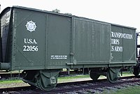 Forty-and-eights style boxcar in the Army Transportation Museum.