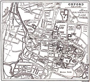 "The Isis - Map of Oxford c. 1900, with the river labelled as ""River Thames or Isis""."