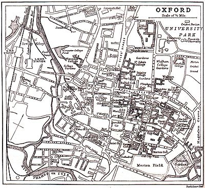 Kaart Oxford ca 1900 met beide namen (linksonder)