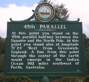 45th parallel north - Historical marker marking the 45th parallel in New Hampshire.