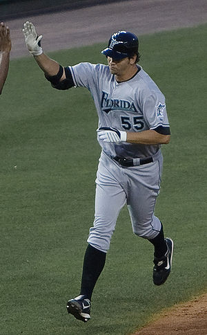 Josh Johnson (baseball) - Johnson running bases after hitting a home run for the Florida Marlins in 2009
