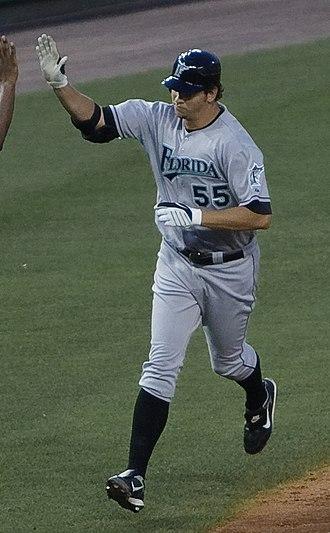 Josh Johnson (baseball) - Johnson running bases after hitting a home run for the Florida Marlins in 2009