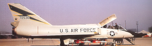 539th Fighter-Interceptor Squadron - Convair F-106B Delta Dart 57-2530 with a load of AIM-4 Falcons at McGuire AFB about 1966
