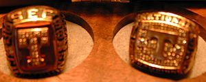 1998 Tennessee Volunteers football team - SEC and National Championship rings for the 1998 Tennessee Vols