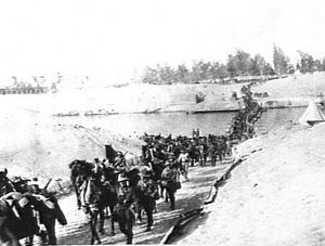 Jifjafa raid - Image: 9th Light Horse crossing the Suez canal