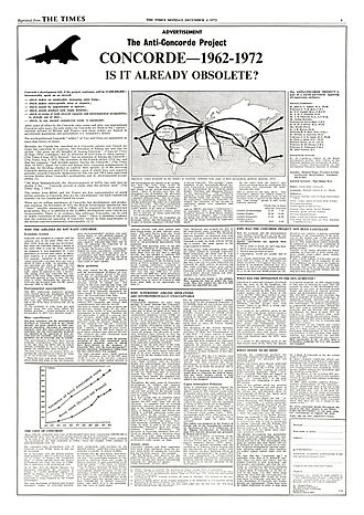 """Anti-Concorde Project - Full page advertisement by Richard Wiggs for the Anti-Concorde Project, run in """"The Times"""" in 1972."""