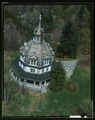 AERIAL VIEW OF EAST ENTRANCE - Armour-Stiner House, 45 West Clinton Avenue, Irvington, Westchester County, NY HABS NY,60-IRV,3-37 (CT).tif