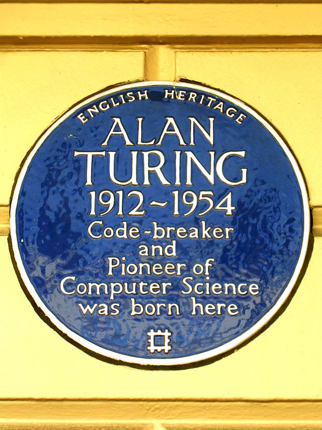 Photo of Alan Mathison Turing blue plaque