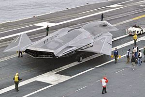 USS Abraham Lincoln (CVN-72) - A mock-up of the fictional F/A-37 Talon aboard Lincoln during production of the film Stealth in 2004