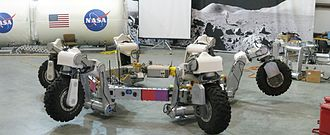 Lunar rover - The ATHLETE rover in a test facility at JPL. Taken August, 2008.