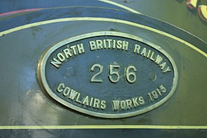 Cowlairs railway works - A Cowlairs production plate on a North British Railway Company engine