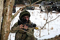 A Georgian soldier provides security outside a training village at the Joint Multinational Readiness Center in Hohenfels, Germany, as part of a Georgian mission rehearsal exercise (MRE) 130214-M-AM607-101.jpg