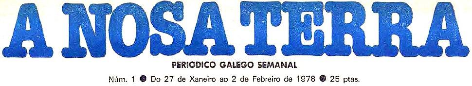 A Nosa Terra. Periódico galego semanal, núm. 1. Do 27 de Xaneiro ao 2 de Febreiro de 1978
