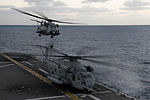 A U.S. Marine Corps CH-53 Super Stallion helicopter assigned to Marine Medium Tiltrotor Squadron (VMM) 265 takes off from the amphibious assault ship USS Bonhomme Richard (LHD 6) in the East China Sea March 10 140310-N-LM312-076.jpg