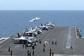 A U.S. Navy F-A-18E Super Hornet aircraft assigned to Strike Fighter Squadron (VFA) 143 launches from the flight deck of the aircraft carrier USS Dwight D. Eisenhower (CVN 69) in the Arabian Sea May 1, 2013 130501-N-MD211-076.jpg