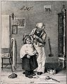 A barber cutting a boy's hair. Lithograph. Wellcome V0019650.jpg