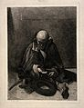 A blind beggar sits, head lowered, hand begging for money. E Wellcome V0015893.jpg