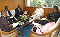 A delegation from Republic of Uganda led by the Deputy Attorney General, Mr. Freddrick Ruhindi meeting with the Minister of State for Commerce and Power, Shri Jairam Ramesh, in New Delhi on August 12, 2008.jpg