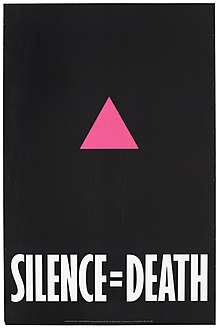 "Graphic of poster with pink triangle on black and ""Silence=Death""."