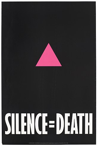 ACT UP - Image: A pink triangle against a black backdrop with the words 'Silence=Death' representing an advertisement for The Silence = Death Project used by permission by ACT UP, The AIDS Coalition To Unleash Power. Wellcome L0052822