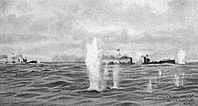 Four German torpedo boats under fire from British ships off of the Dutch island of Texel.