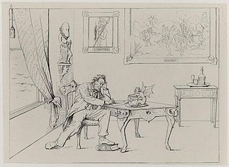 Adalbert J. Volck - Caricature of Lincoln writing the Emancipation Proclamation, a political cartoon by Volck.