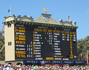 Scoring (cricket) - The scoreboard at the Adelaide Oval.