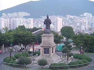 Yi Sun-sin - Rear view of the statue of Admiral Yi at Busan Tower, in Busan, South Korea.