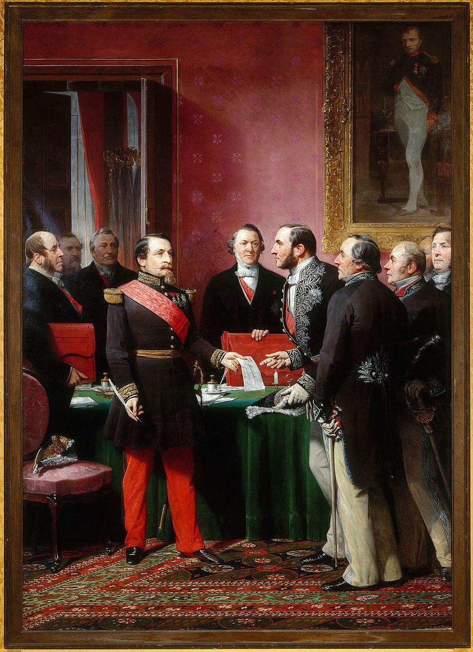 Adolphe Yvon - Haussmann présente à l'Empereur le plan d'annexion des Communes